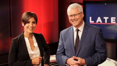 Current Lateline presenters Emma Alberici with Tony Jones. Jones took took over from McKew in 1999.