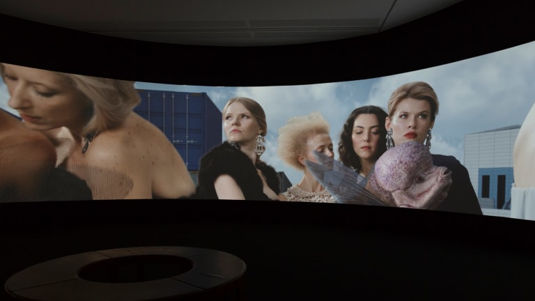 Installation view of AES+F's Inverso Mundus in the Hyper Real exhibition at the National Gallery of Australia, Canberra.