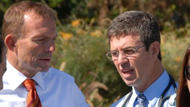 Assistant Health Minister David Gillespie with former Liberal leader Tony Abbott.