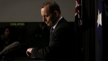 Prime Minister Tony Abbott during his Tuesday night press conference.