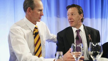 In friendlier times: Bennett and Bellamy at the 2006 grand final breakfast.