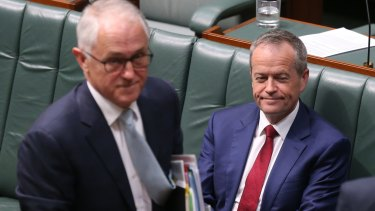 Malcolm Turnbull and Bill Shorten during a vote that Barnaby Joyce no longer be heard during question time.