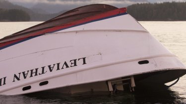 The bow of the Leviathan II, a whale-watching boat  that capsized last week.