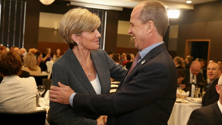Foreign Affairs Minister Julie Bishop greets journalist Peter Greste ahead of his address at the National Press Club of Australia in Canberra on Thursday.
