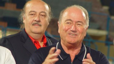 FFA consultant Peter Hargitay, on left, with former FIFA president Sepp Blatter.