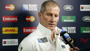 End of the road: England coach Stuart Lancaster is interviewed after his side's loss.