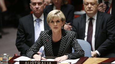 Pushing for a tribunal to prosecute the people who shot down MH17: Foreign Affairs Minister Julie Bishop speaks to members of the Security Council during a UN meeting last year.