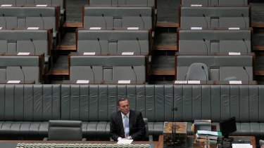 LONELY AT THE TOP: Prime Minister Tony Abbott implored the party room to have faith in him.