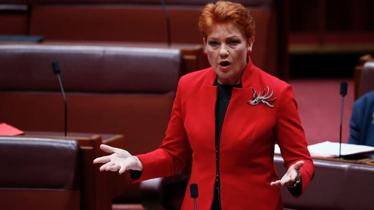 A Human Services address is linked to a message to Wikipedia about Pauline Hanson's page.