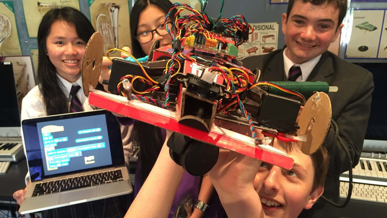 Programmed for success: Keysborough College students have designed and programmed a working model of a car.
