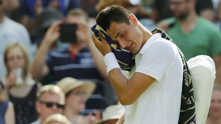 Angry young man ... Bernard Tomic unleashed a barrage of criticism against Tennis Australia and Pat Rafter in a press conference after his third-round loss to Novak Djokovic.