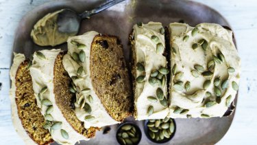 Spiced pumpkin loaf with brown-sugar icing.