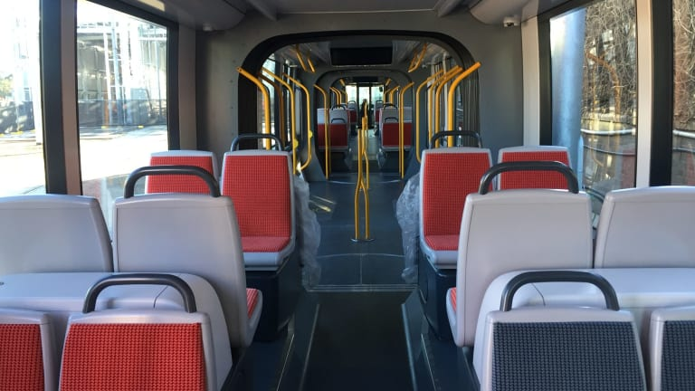 The interior is about 10 per cent wider than the trams on the inner west light rail line.