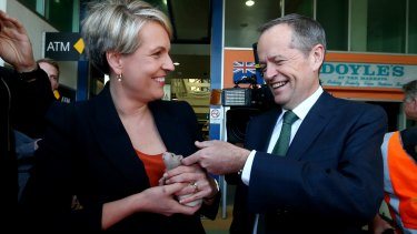 Tanya Plibersek with Labor leader Bill Shorten - and the rat left at their feet while campaigning.