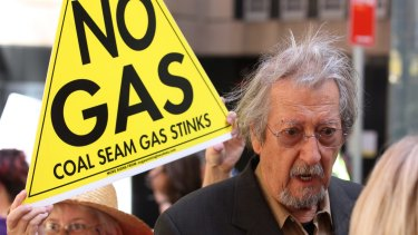 AGL's plans to produce more gas in NSW have come under heavy community fire. Australian actor Michael Caton supporting an anti-AGL coal seam gas protest.