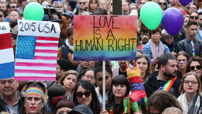 Supporters join in the marriage equality rally in Melbourne.