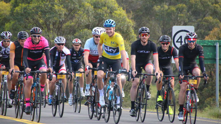 Chris Froome riding at L'Etape at the Snowy Mountains last year.