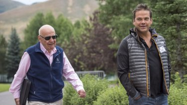 Missed out: Lachlan Murdoch with his father Rupert.