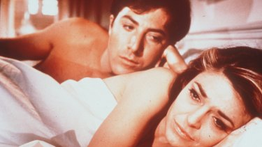 Dustin Hoffman and Anne Bancroft in <aif>The Graduate<aif>.