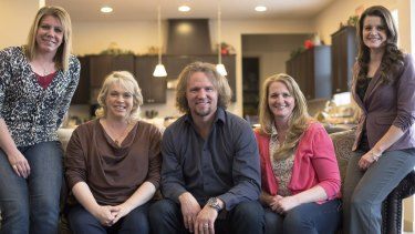 Kody Brown with his wives at his wife Christine's home in Las Vegas in 2014. The reality TV family is at the centre of Sister Wives, now heading to its seventh series.
