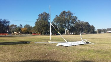 A light plane wing at the scene of a plane crash in Runcorn, south of Brisbane.