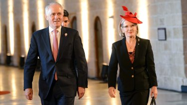 Prime Minister Malcolm Turnbull and his wife Lucy arrive at the Commonwealth Heads of Government Meeting in Malta.