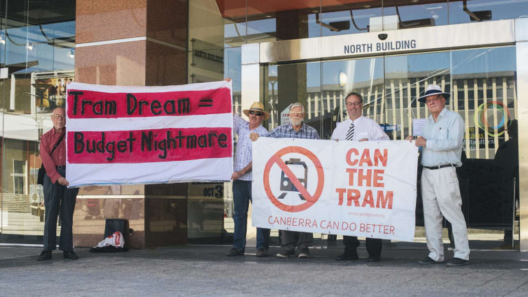 Members of the Can the Tram organisation in Civic Square on Thursday.  29 October 2015 Photo: Rohan Thomson The Canberra Times