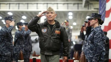 US Navy Admiral Harry Harris aboard the USS Bonhomme Richard off the coast of Sydney in June during a joint military exercise between the United States and Australia.