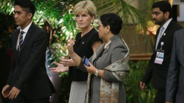 Foreign Minister Julie Bishop pushed back on talk of joint patrols in the South China Sea.
