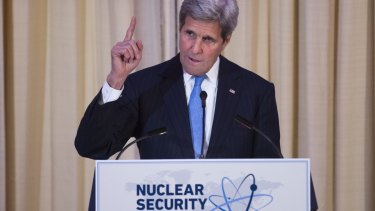 US Secretary of State John Kerry speaks at a State Department dinner for Nuclear Security Summit delegation guests.