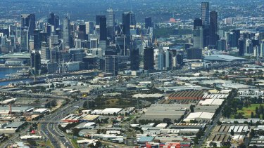 An aerial view of the new Fishermans Bend precinct, taken this month.