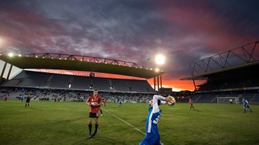 Strong base: The Wollongong Wolves playing Sydney Olympic at WIN stadium in May. The Wolves want back into the big time.