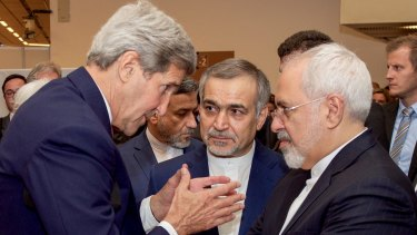 US Secretary of State John Kerry with Hossein Fereydoun, the brother of Iranian President Hassan Rouhani, and Iranian Foreign Minister Javad Zarif, before announcing the deal.