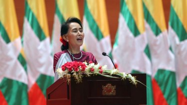 Myanmar's State Counsellor Aung San Suu Kyi delivers a televised speech to the nation in Naypyitaw on Tuesday.