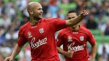 Big-time player: Sergio Van Dijk celebrates during his stint with Adelaide United.