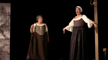 Liz Bradley, left, and Karen Vickery star in Playhouse Creatures about women in  theatre in the Restoration period.