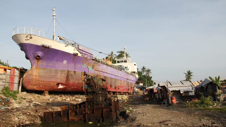 A ship driven ashore in Tacloban in the Philippines by Haiyan.