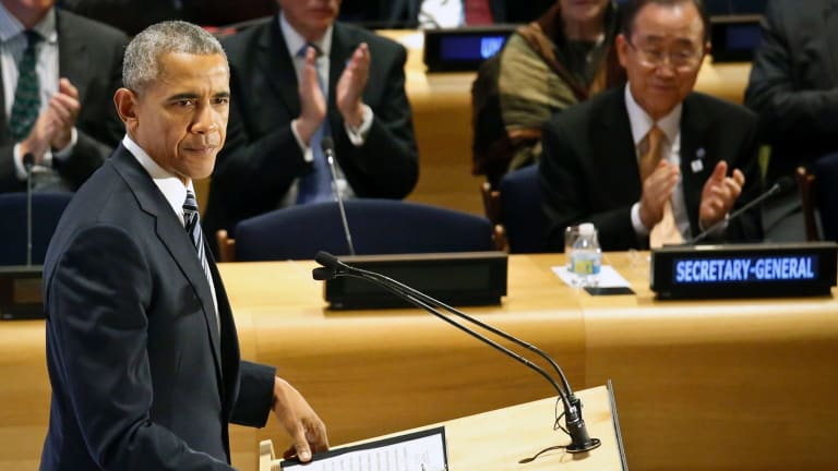President Barack Obama used his last address to the UN General Assembly to do a stocktake of his presidency while pressing to keep Donald Trump away from the Oval Office.