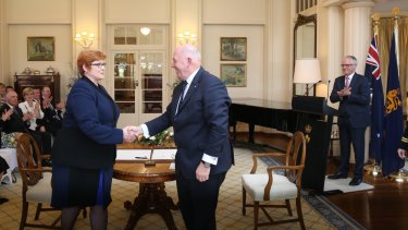 Senator Marise Payne is sworn in as Minister for Defence by Governor-General Sir Peter Cosgrove.