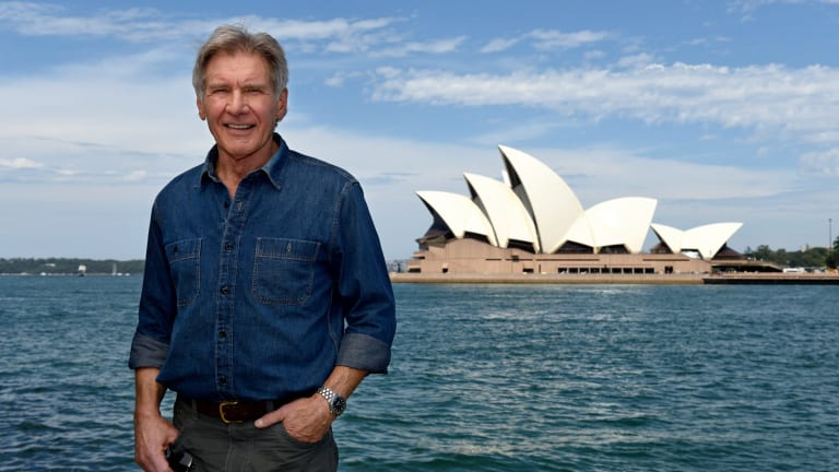 Harrison Ford in Sydney for the launch of <i>Star Wars: The Force Awakens</i> last year.