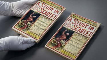 The exhibition includes a first print edition of Sherlock Holmes first mystery, A Study In Scarlet.