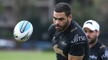 Leading from the back: South Sydney fullback Greg Inglis trains on Thursday before their finals match against the Cronulla Sharks.