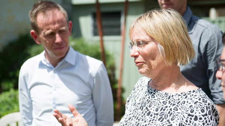 The Greens' Caroline Le Couteur, likely to be elected, with Shane Rattenbury at a Greens celebration in Reid on Sunday.