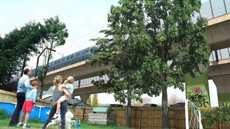 An artist's impression of the sky rail, commissioned by Murrumbeena resident Edward Meysztowicz.
