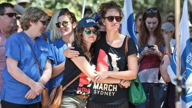 "Protesters in Sydney on Sunday were told they were fighting over ""class, gender, race and sexism""."
