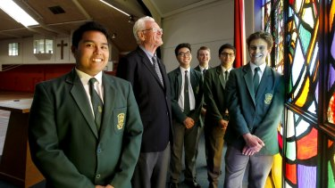 Reaping the rewards: Parramatta Marist Brother Patrick Howlett  with students Jonah Maranan, Gabriel Salonga, Peter Broschofsky, Andre Nunez, Joseph Roveto.