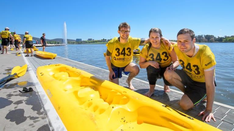 Winners of the inaugural Lake Burley Griffin Water Week Challenge Cup Ben Kirker, Morgan Evans, and Ben O'Sullivan.