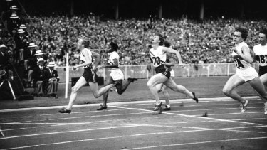 Betty Cuthbert winning the women's 100 metres at the 1956 Olympics in Melbourne.