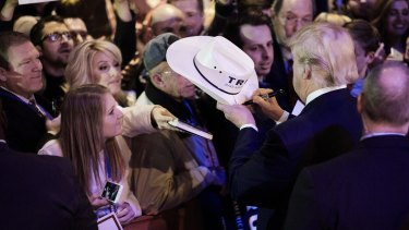 Donald Trump with South Carolina supporters on Monday.