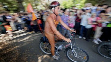 Crowds at Edinburgh Gardens for 2013's World Naked Bike Ride Day.